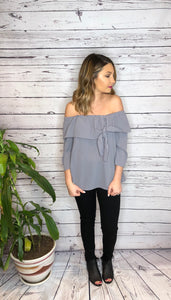 Lilac Grey Off Shoulder Bow