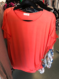 102 Coral Three Button Side Top