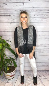 Black Two Tone Sweater Vest W/ Crochet Fringe