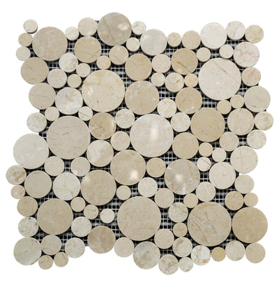Beigescale Circular Ceramic Mosaic Tile | 1 sheet 30cmx30cm&8mm | 11 sheets 1sqm