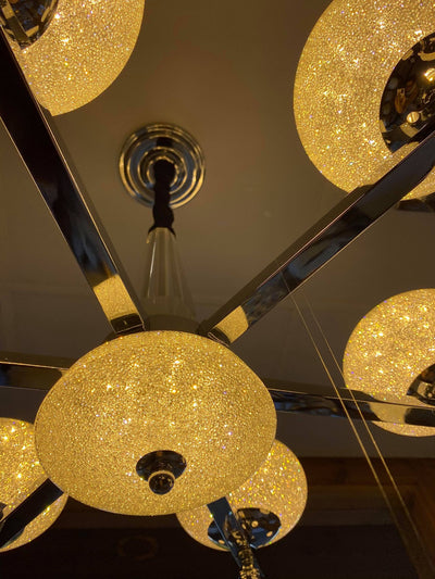 Suspended ceiling 3-shades silver / gold 6 x crystallic bowls light