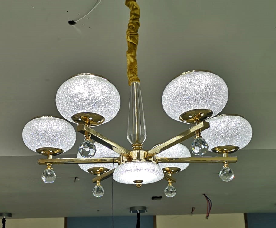 Suspended ceiling golden mirror frame 6 arms light [21136-6]