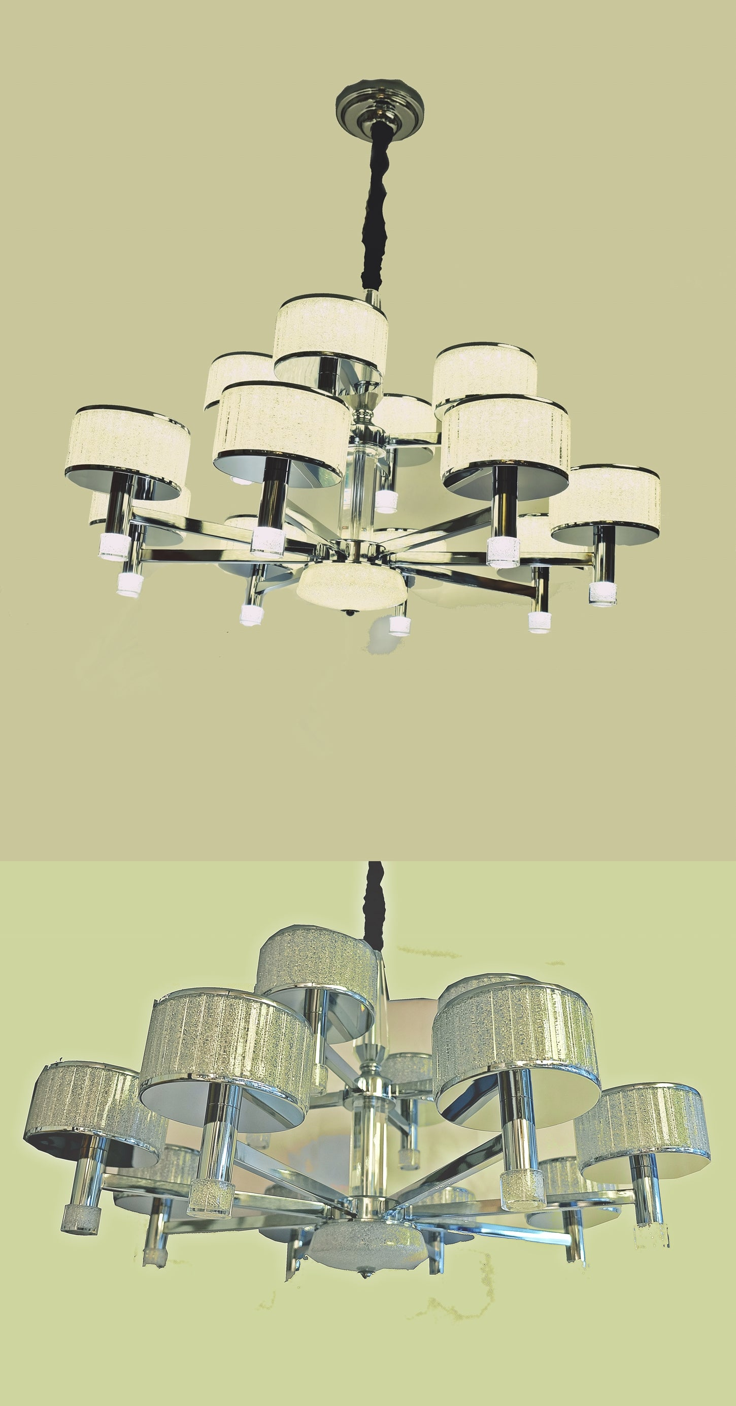 8+4 2-tier modern upwards cylindrical ceiling light [2139-8+4]