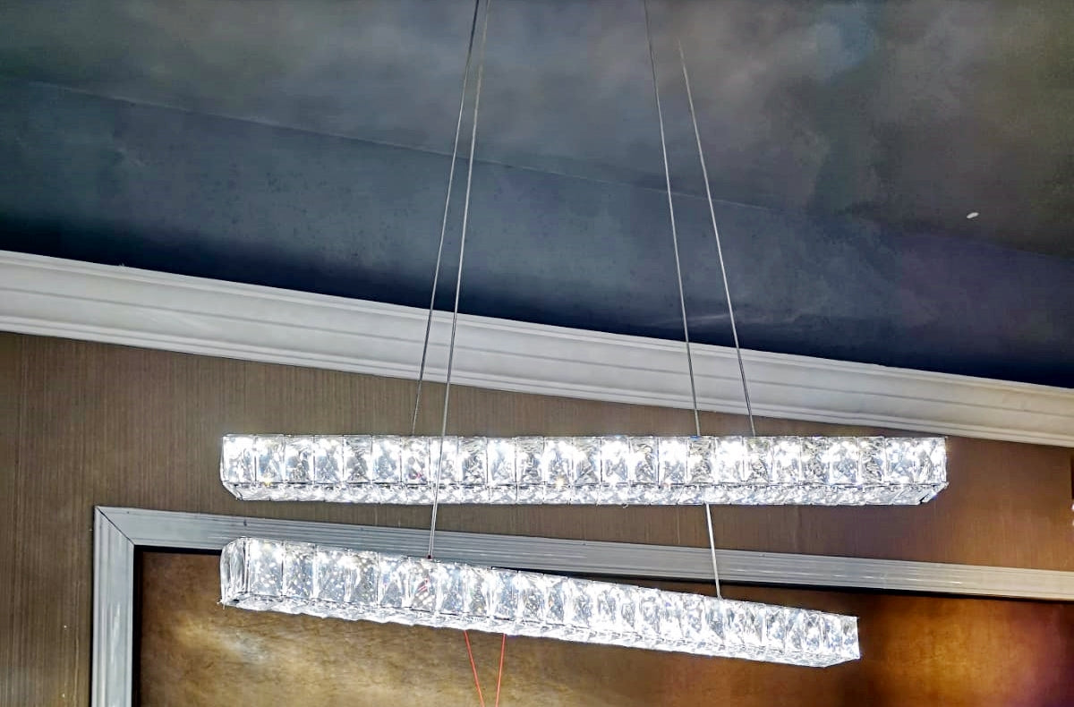 Two crystallic bar LED incorporated suspended ceiling light [2626-48]