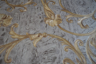 Luxury grey with golden imprint wallpaper