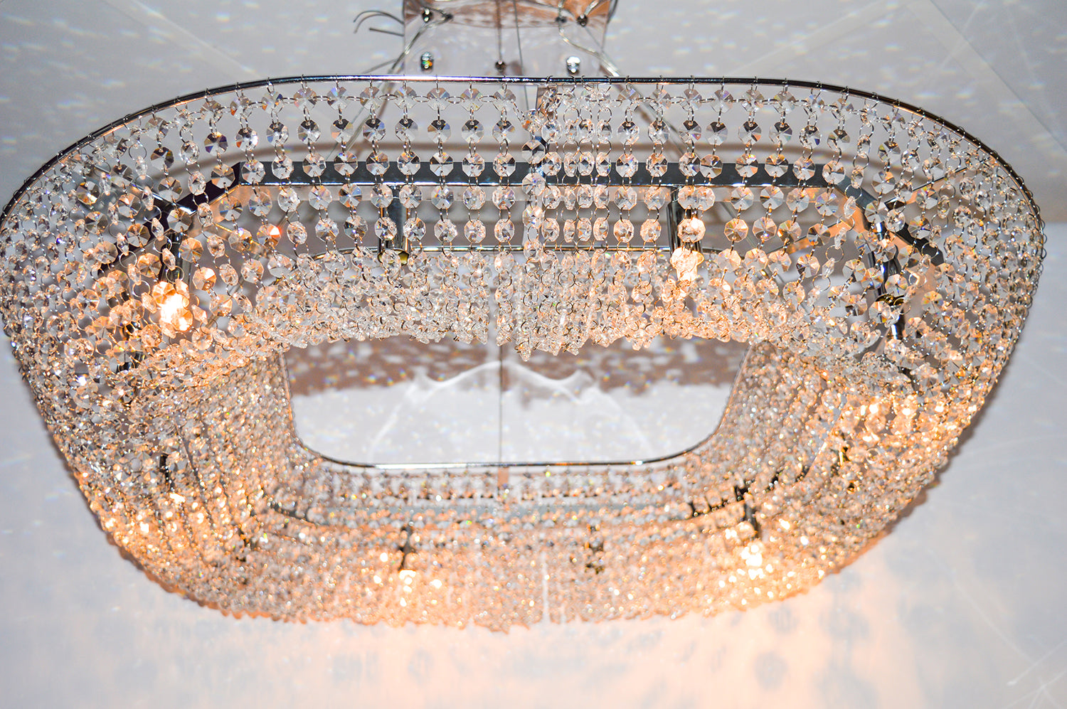 Silver LED Crystal Ceiling Pendant Light 33 x 33 x 33 (P88750)