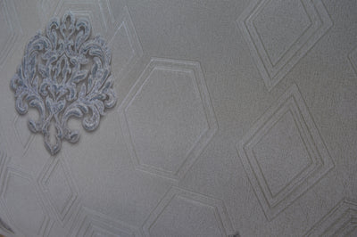 Modern double imprint in shades of blue luxury wallpaper