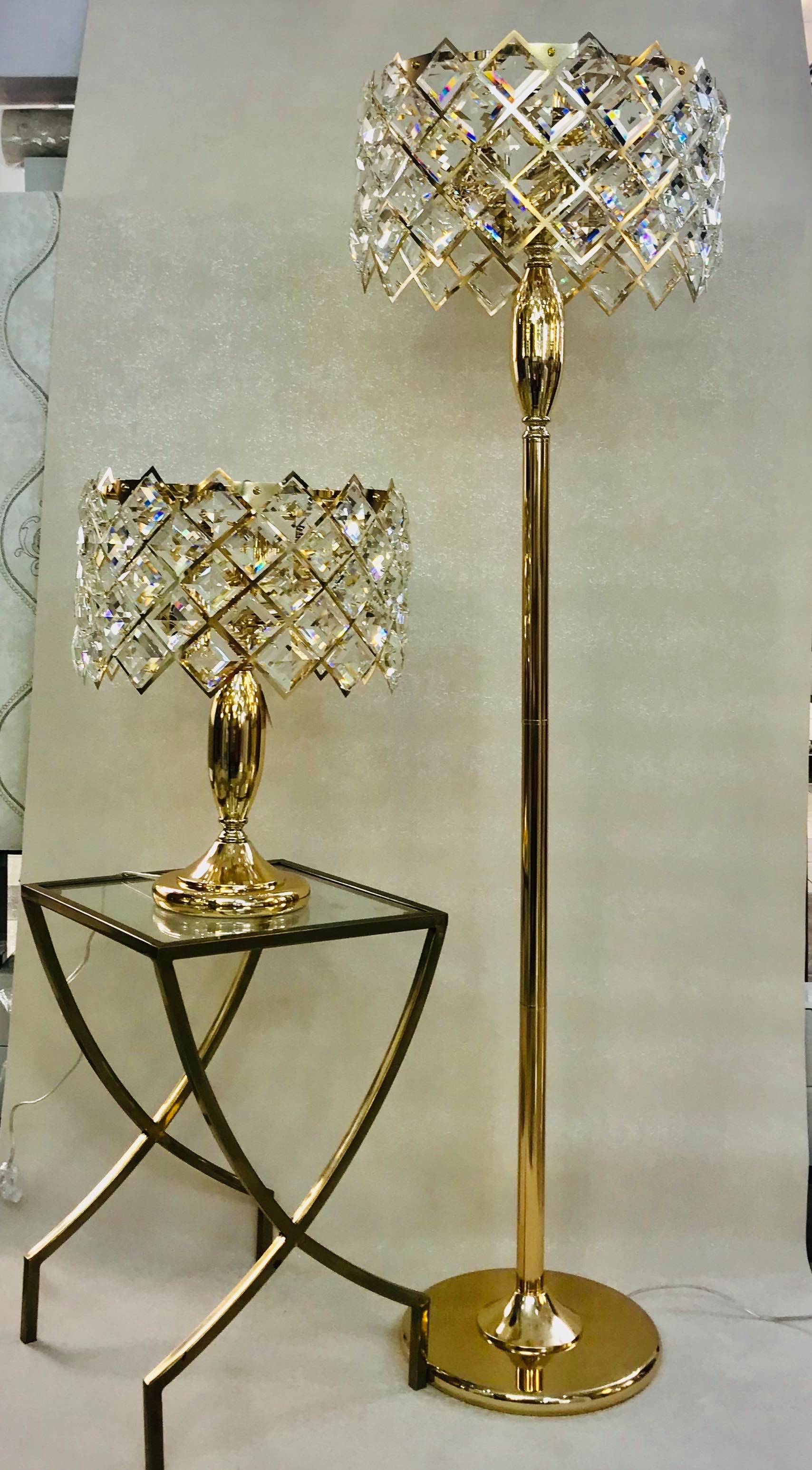 Triangular Crystals & Metal Lamps Set