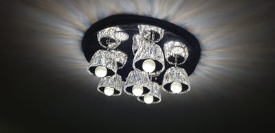 Mirrored 6 lights crystallic ceiling mount [8212]