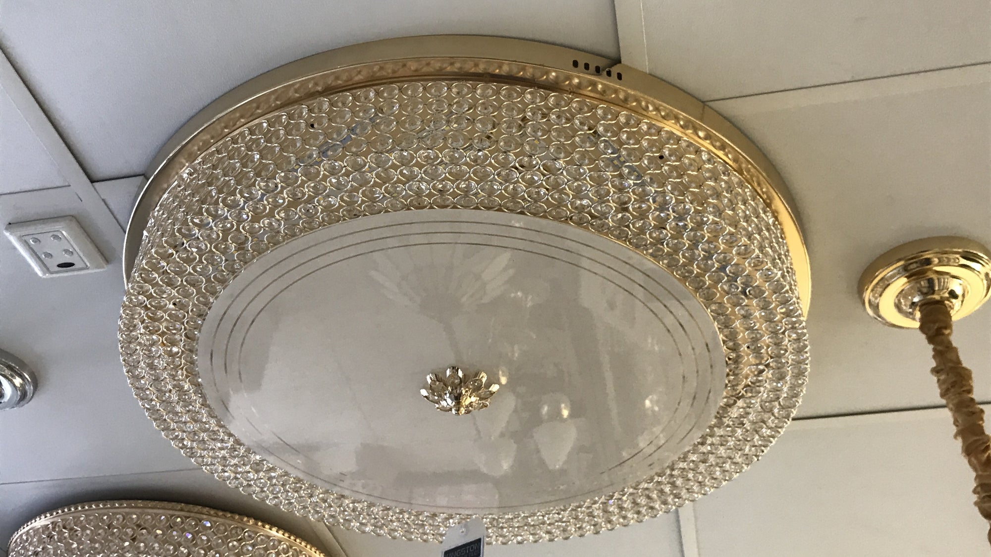 Circular glass ceiling mounted crystallic shaded light [9218-600 | 9218-800]