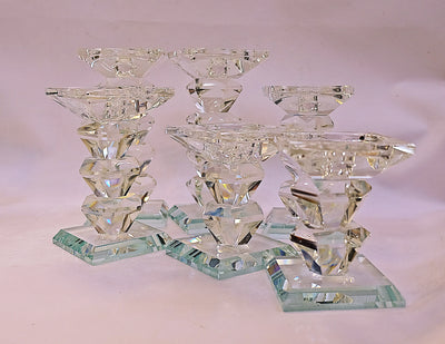 Round / Squared Tall Crystal Candle Holders SET OF 2