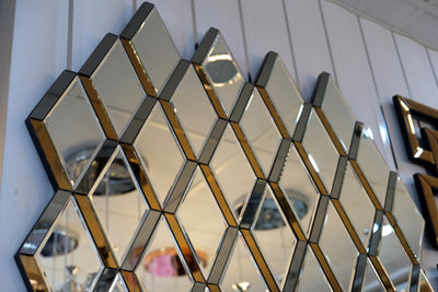 Checkers Mirror with Golden Reflections