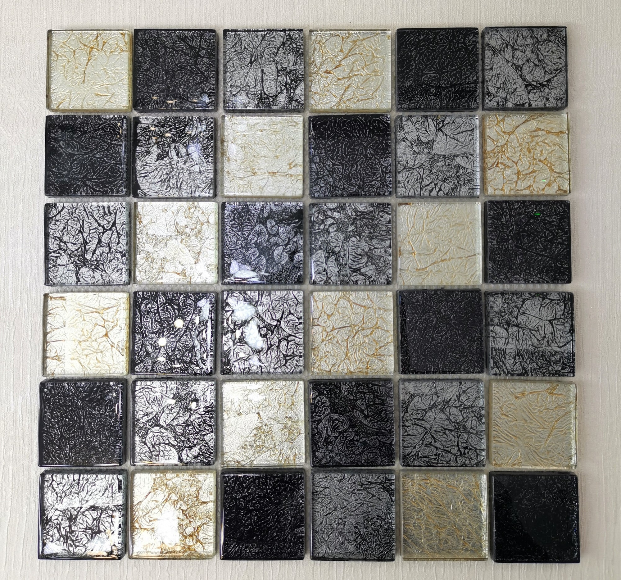 Black & Golden Leaf Glass Mosaic Tile
