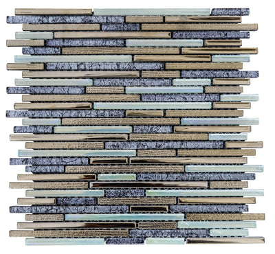 Olive Lined Glass Mosaic Tile | 1 sheet 30cmx30cm&8mm | 11 sheets 1sqm