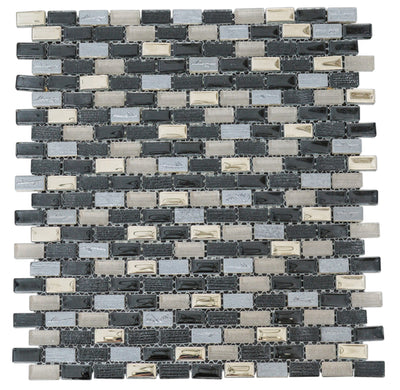 Beige & Noir Glass Mosaic Tiles [KBR11-01]