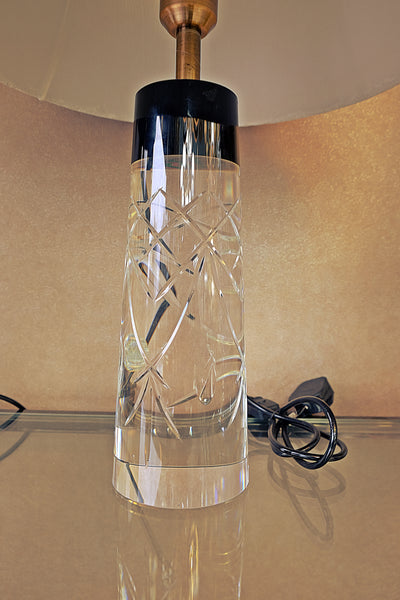 Strong crystallic cylindrical lamp, black & see-through body [F095]