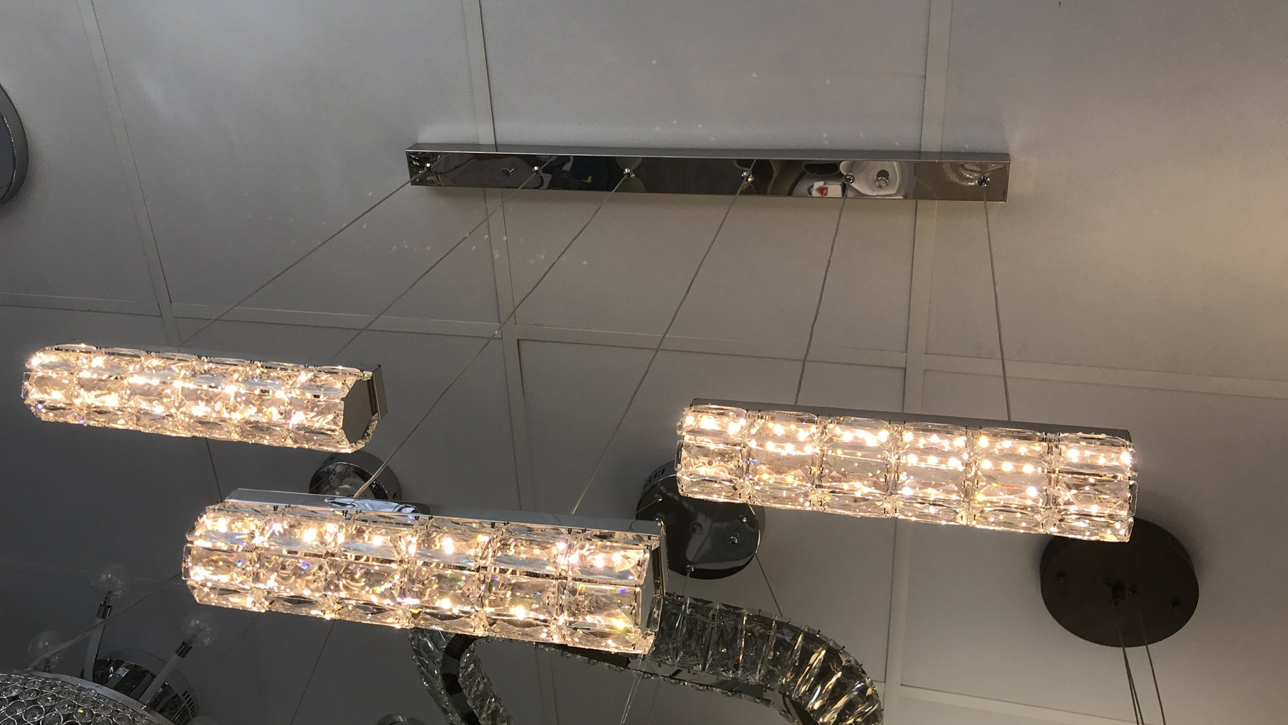 3 Bar LED Incorporated crystallic metallic mirror frame [H89831-3]