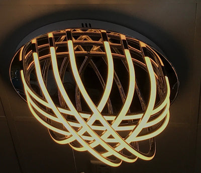 Circular LED barred mirrored base in warm white [L1132-M]