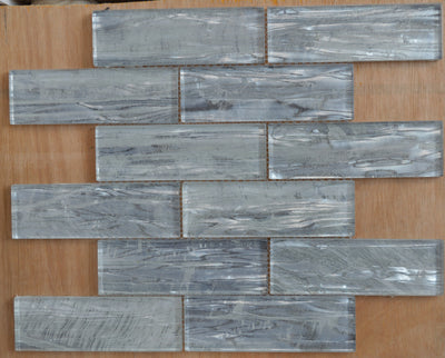 Thin bars glass mosaic tiles in light greyscale | 1 sheet 30 cm x 30 cm | 11 sheets 1sqm