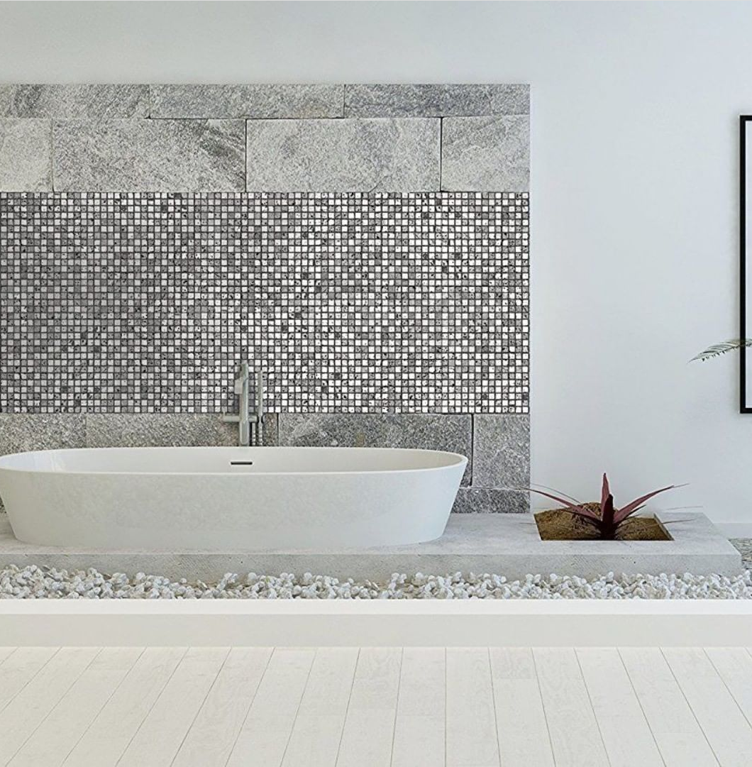 Cubic Greyscale Stone Mosaic Tile