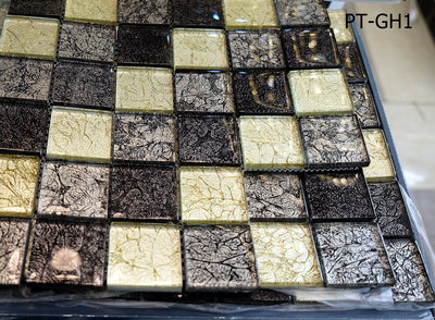 SALE Noir Golden Silver Glass Mosaic Tile || 30 x 30 cm 8mm