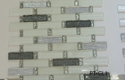 White Grayscale Glass Mosaic Tile | 1 sheet 30cmx30cm&8mm | 11 sheets 1sqm