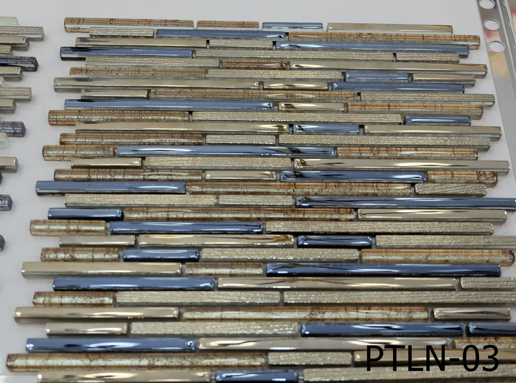 Staggered Bronze & Blue Glass Mosaic Tiles [PTLN-03]