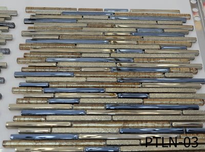 Blue & Gold Lined Glass Mosaic Tile | 1 sheet 30cmx30cm&8mm | 11 sheets 1sqm