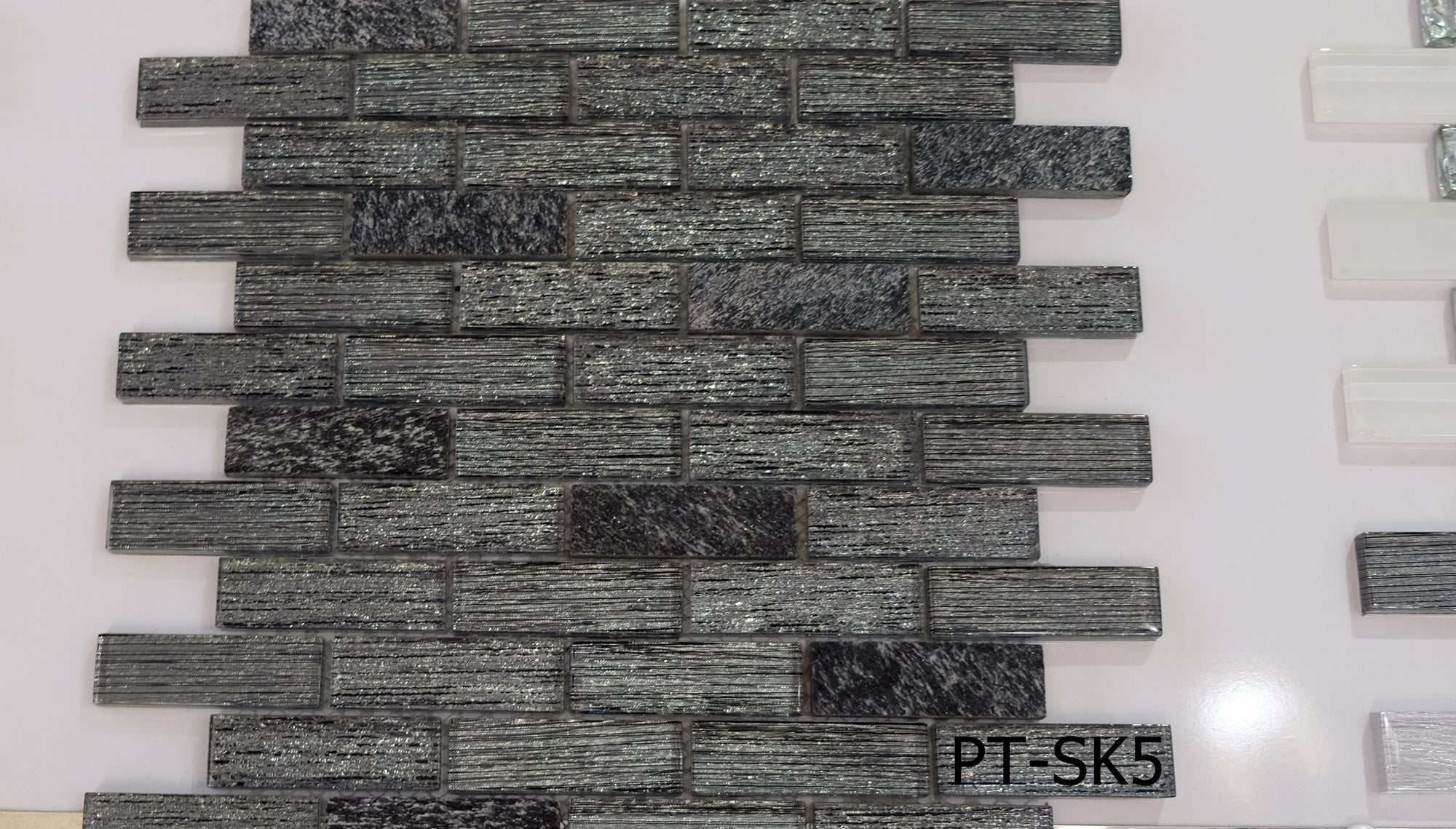 Slate Grey Glass & Stone Mosaic Tiles