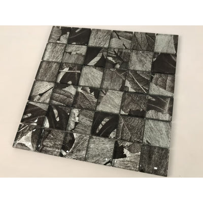 Noir & Grey Leaf Print Glass Mosaic Tiles [Fh009] - Glass Mosaics