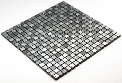Cubic Greyscale Stone Mosaic Tile | 1 sheet 30cmx30cm&8mm | 11 sheets 1sqm