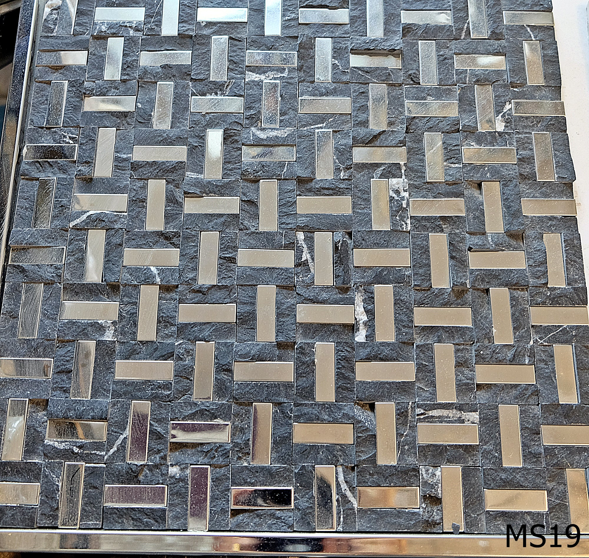 Black Stone & Mirror Maze Mosaic Tiles