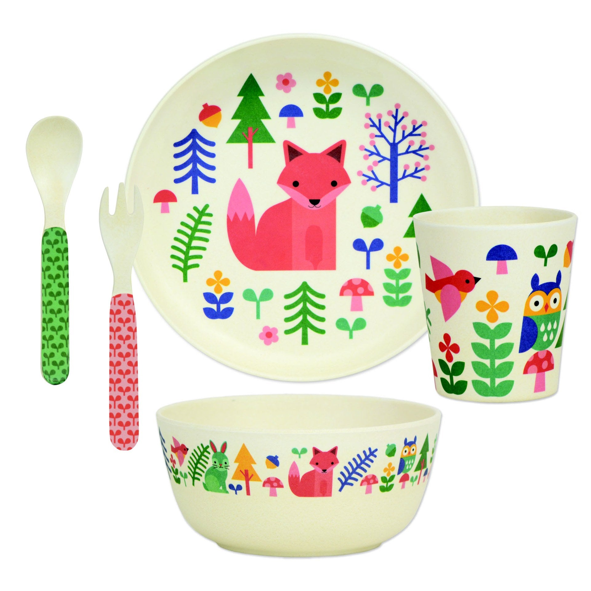 Petit Collage Forrest Bamboo Dinnerware Set - WoodenToys.com