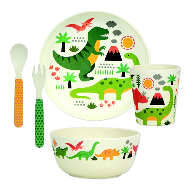 Petit Collage Dinosaur Bamboo Dinnerware Set - WoodenToys.com