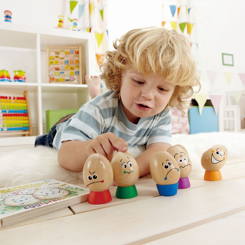 Hape Eggspressions Wooden Learning Toy with Illustrative Book - WoodenToys.com