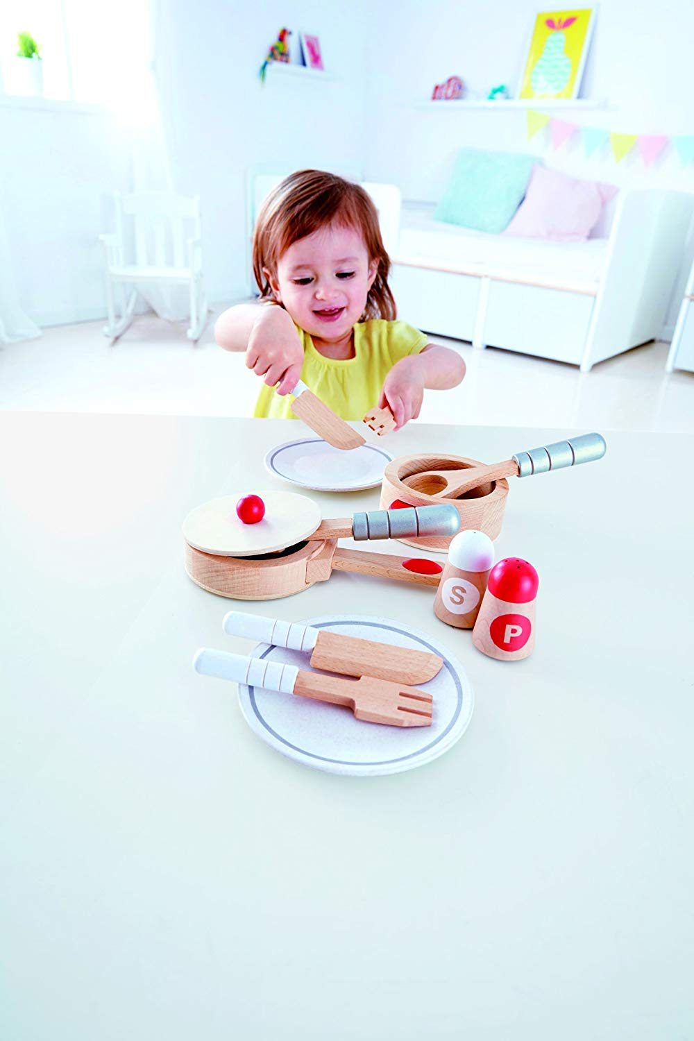 Hape Gourmet Play Kitchen Starter Accessories Wooden Play Set - WoodenToys.com
