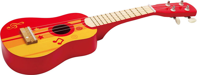 Hape Kid's Wooden Toy Ukulele in Red - WoodenToys.com