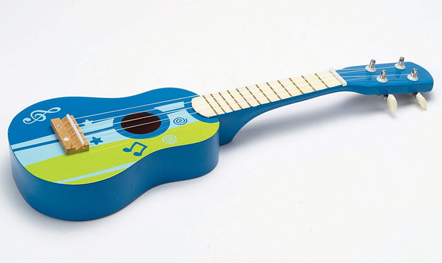 Hape Kid's Wooden Toy Ukulele in Blue - WoodenToys.com