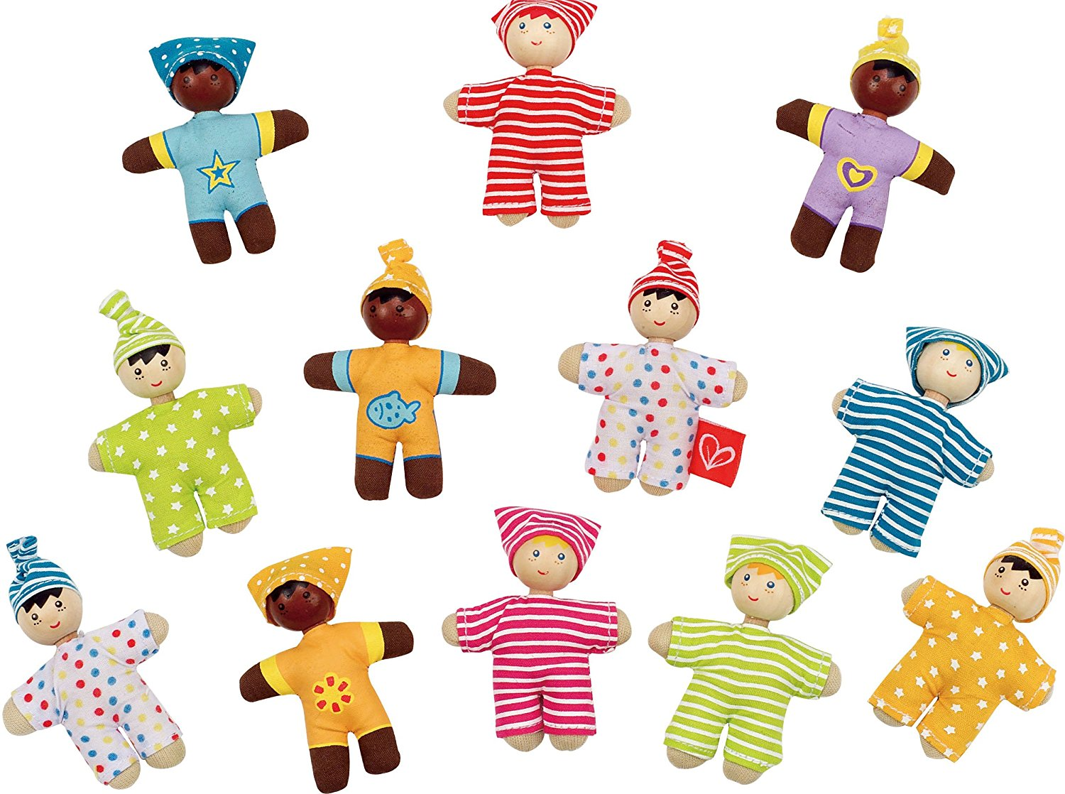 Hape Happy Babies Toddler Pocket Dolls Set of 12 - WoodenToys.com