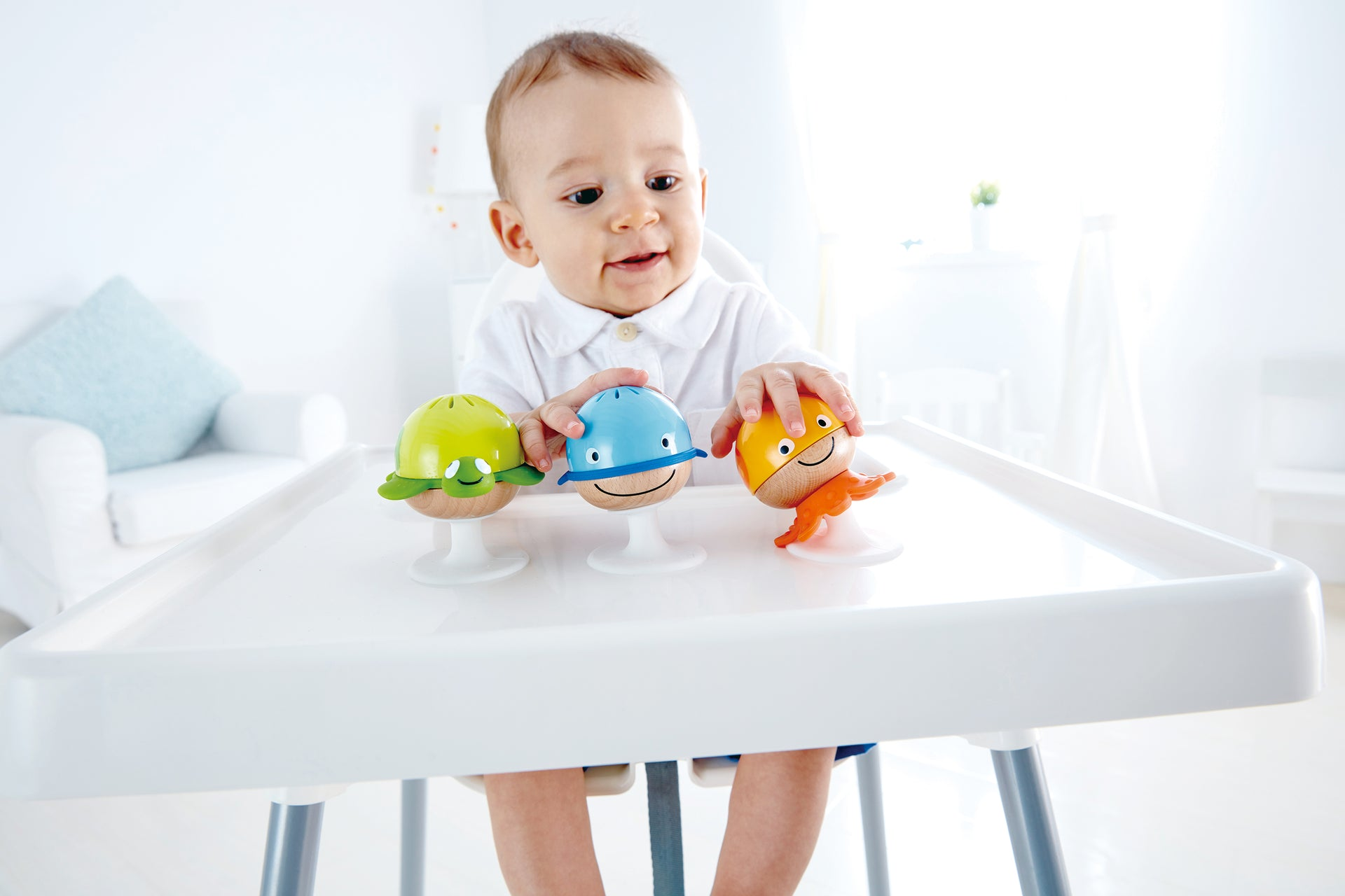Hape Suction Animal Rattles Baby/Infant Toy, Multicolor, 5'' x 2'' - WoodenToys.com