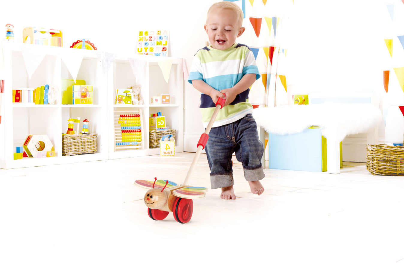 Hape Butterfly Wooden Push and Pull Walking Toy - WoodenToys.com