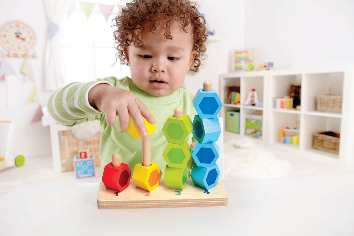 Hape Counting Stacker Toddler Wooden Stacking Block Set - WoodenToys.com