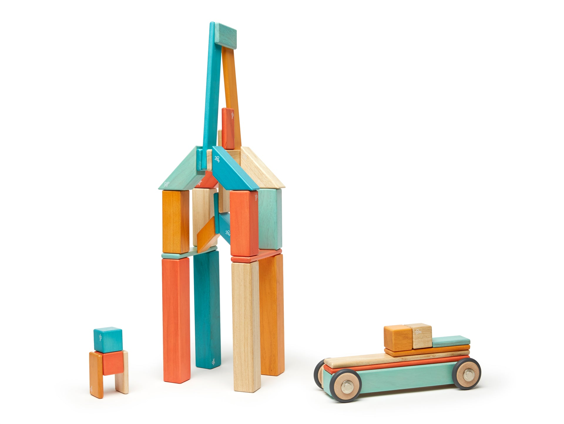 Tegu 42 Piece Magnetic Wooden Block Set, Sunset - WoodenToys.com