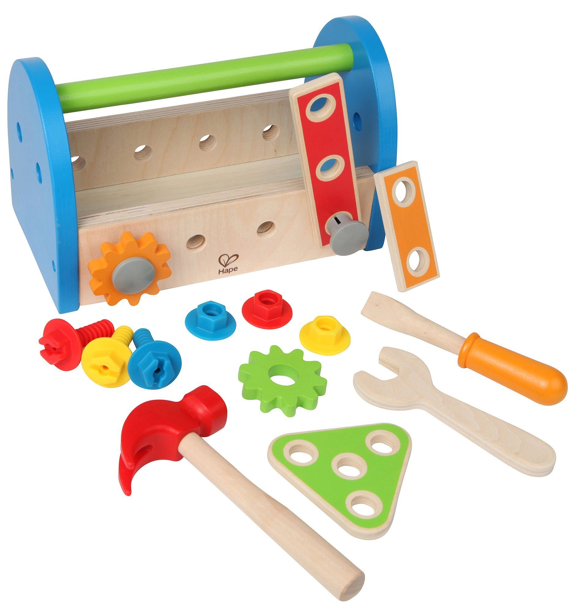 Hape Fix It Kid's Wooden Tool Box and Accessory Play Set - WoodenToys.com