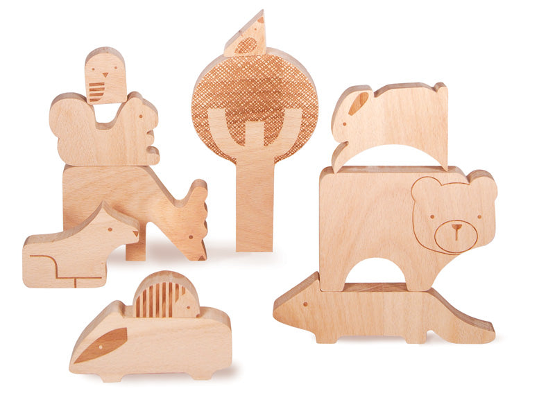 Petit Collage Forest Jumble Wood Puzzle + Play - WoodenToys.com