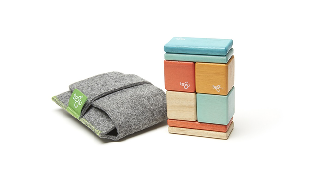 Tegu Original Pocket Pouch 8 Piece, Sunset - WoodenToys.com