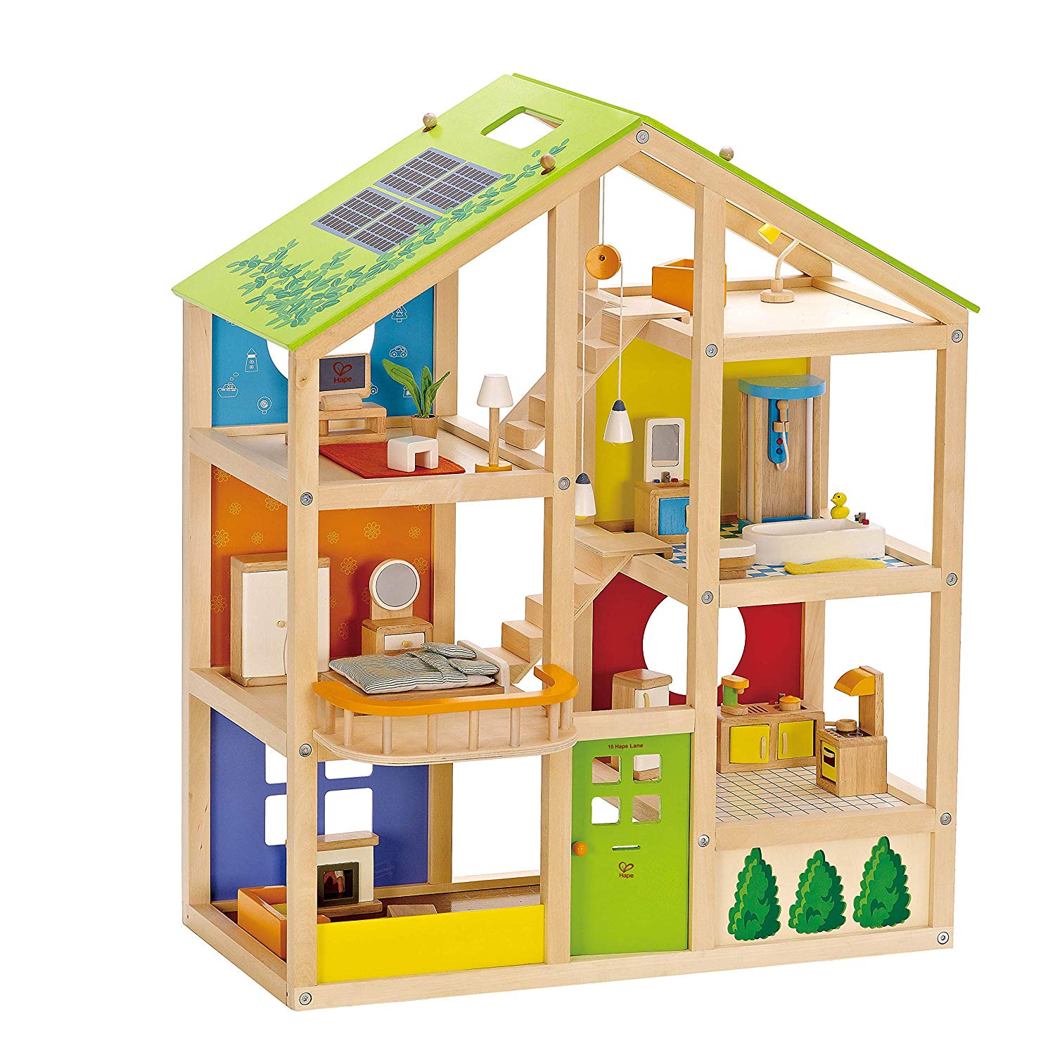 Hape All Season House Furnished Toddler Toy Wood Dollhouse w/ Furniture