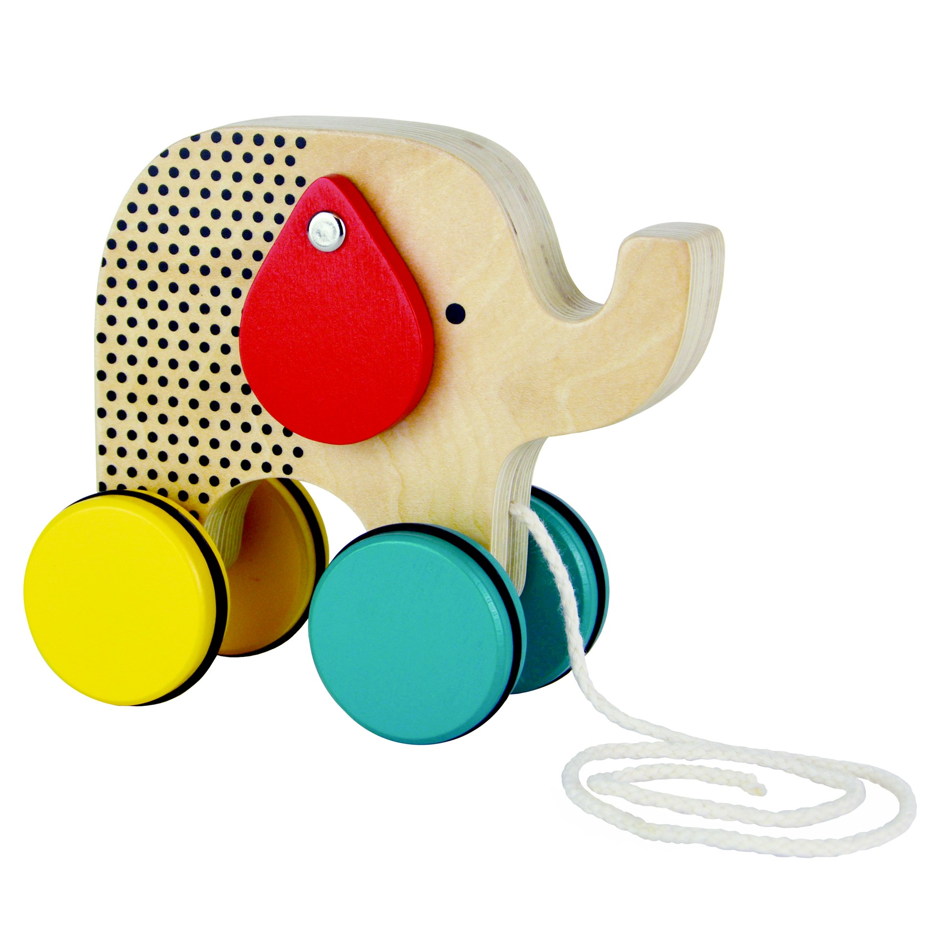 Petit Collage Modern Elephant Wood Pull Toy - WoodenToys.com