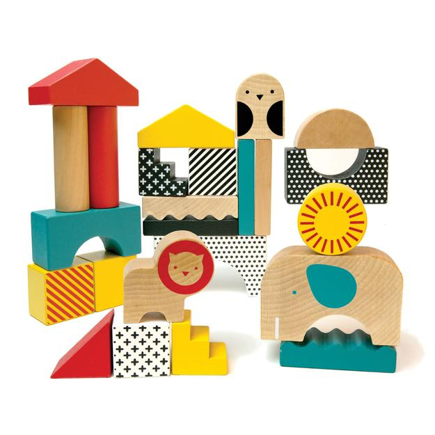 Petit Collage Animal Town Wood Blocks - WoodenToys.com