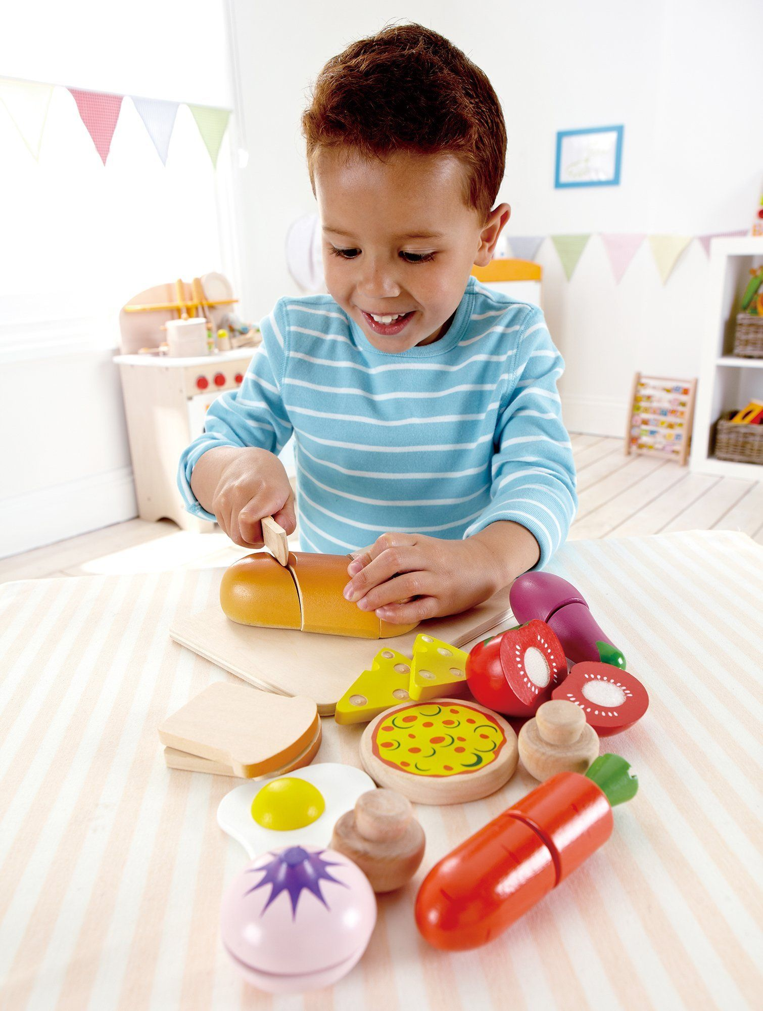 Hape Chef's Choice Wooden Play Food Basics Set - WoodenToys.com